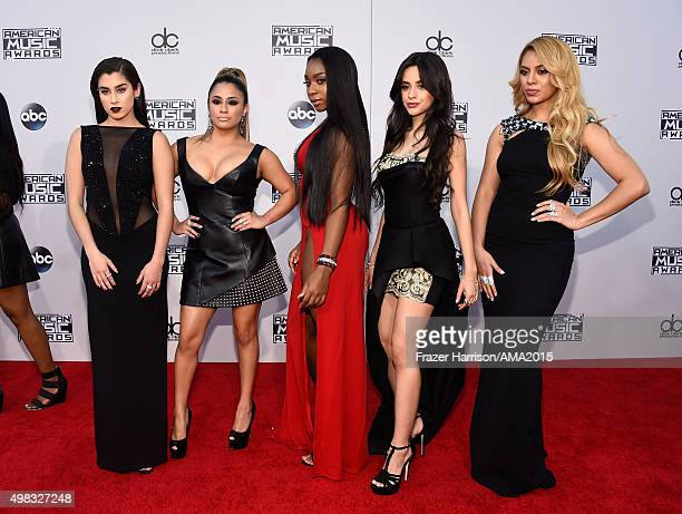 Recording artists Lauren Jauregui Ally Brooke Normani Hamilton Camila Cabello and DinahJane Hansen of Fifth Harmony attend the 2015 American Music...