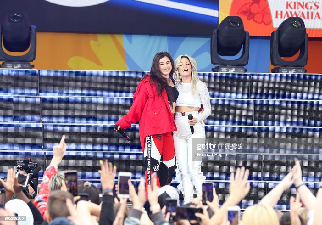Recording artists Lauren Jauregui and Halsey (R) perform during ABC's 'Good Morning America' at Rumsey Playfield, Central Park on June 1, 2018 in New York City.