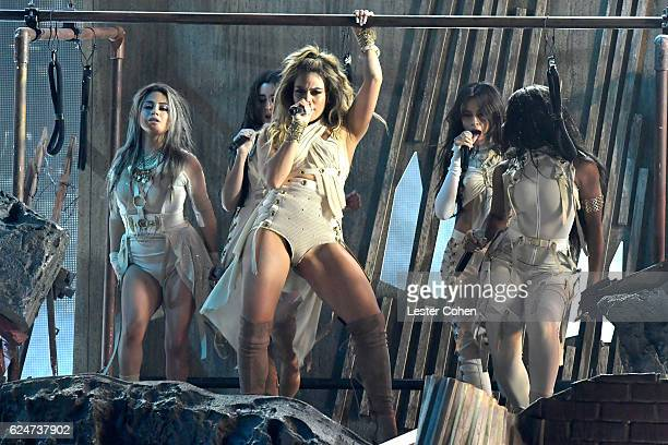 Recording artists Lauren Jauregui Dinah Jane Hansen Normani Hamilton Ally Brooke and Camila Cabello of Fifth Harmony perform onstage at the 2016...