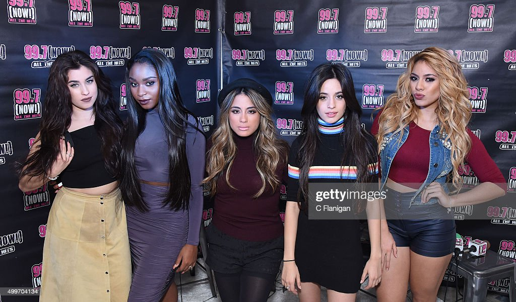 Recording artists Lauren Jauregui, Normani Hamilton, Ally Brooke, Camila Cabello and Dinah-Jane Hansen of Fifth Harmony pose backstage during the 6th Annual 99.7 NOW! Triple Ho Show at SAP Center on December 2, 2015 in San Jose, California.