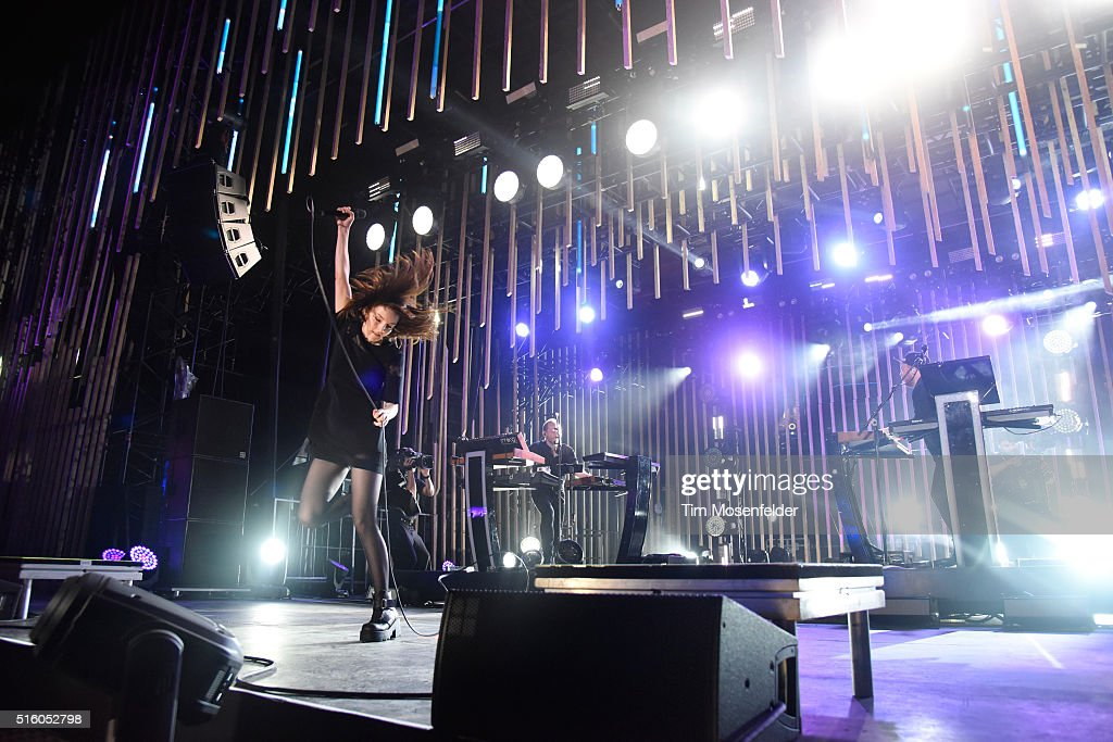 Recording artists Lauren Mayberry, Iain Cook and Martin Doherty of Chvrches perform onstage during the 2016 MTV Woodies/10 For 16 on March 16, 2016 in Austin, Texas.