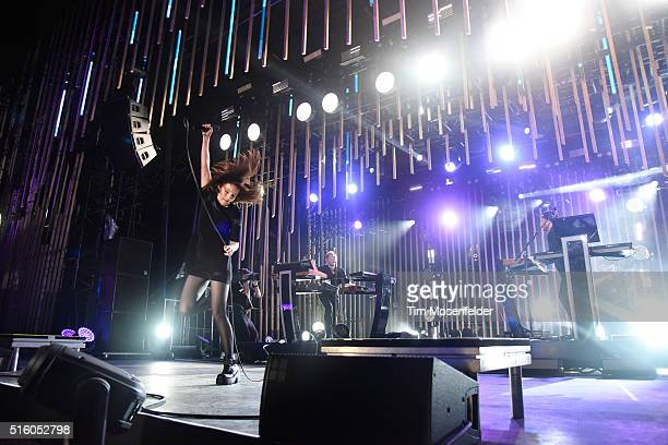 Recording artists Lauren Mayberry Iain Cook and Martin Doherty of Chvrches perform onstage during the 2016 MTV Woodies/10 For 16 on March 16 2016 in...