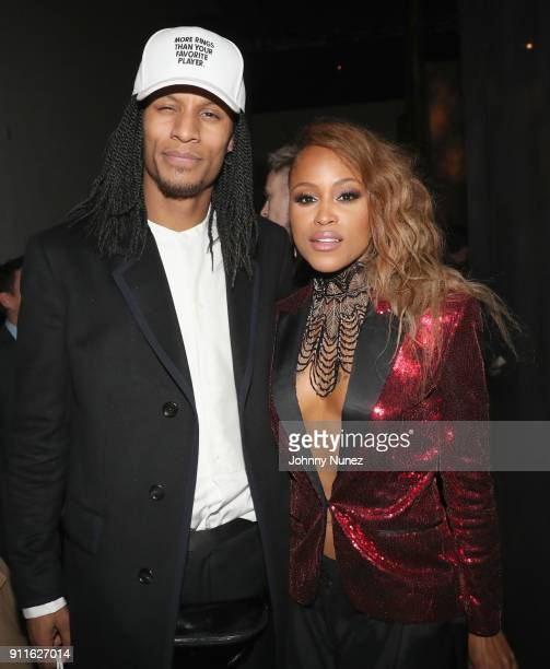 Recording artists Laurent Bourgeois and Eve attends Universal Music Group's 2018 After Party to celebrate the Grammy Awards supported by The House Of...