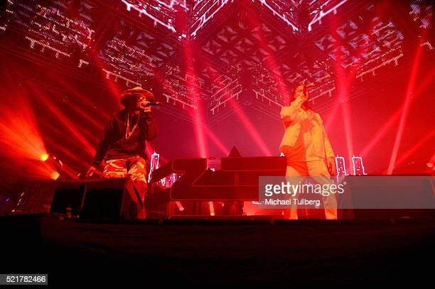 Recording artists Layzie Bone and FleshnBone of Bone ThugsNHarmony perform onstage with Zhu during day 2 of the 2016 Coachella Valley Music Arts...