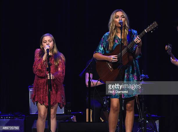 Recording Artists Lennon Maisy Maisy Stella and Lennon Stella perform during The Kacey Musgraves Country Western Rhinestone Revue at the Ryman...