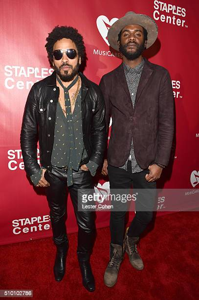 Recording artists Lenny Kravitz and Gary Clark Jr. Attend the 2016 MusiCares Person of the Year honoring Lionel Richie at the Los Angeles Convention...