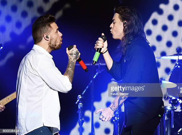 Recording artists Liam Payne and Harry Styles of One Direction perform onstage during 1027 KIIS FM's Jingle Ball 2015 Presented by Capital One at...