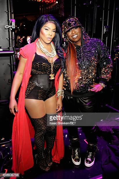 Recording artists Lil Kim and Missy Elliott pose backstage at the 2014 Soul Train Music Awards at the Orleans Arena on November 7, 2014 in Las Vegas,...