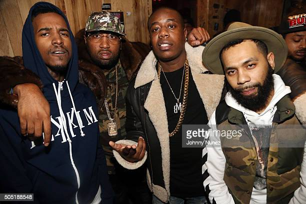 Recording artists Lil Reese Windsor Slow Lubin Trav and Rodney Bucks Charlemagne attend Webster Hall on January 12 in New York City