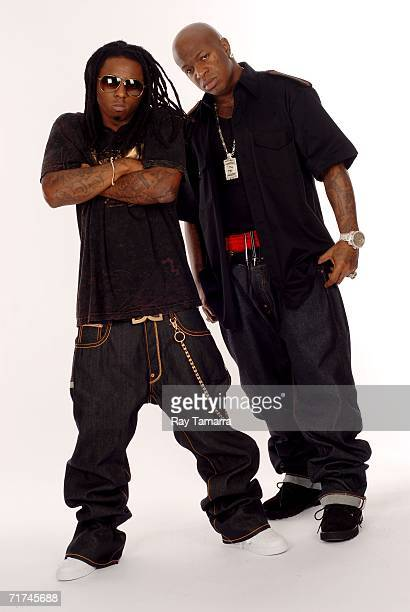 Recording artists Lil Wayne and Birdman pose for photos at Michaelson Studio August 29 2006 in New York City