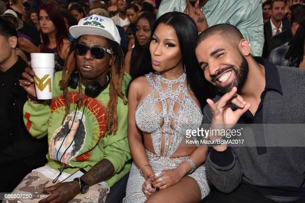 Recording artists Lil Wayne Nicki Minaj and Drake attend the 2017 Billboard Music Awards at TMobile Arena on May 21 2017 in Las Vegas Nevada