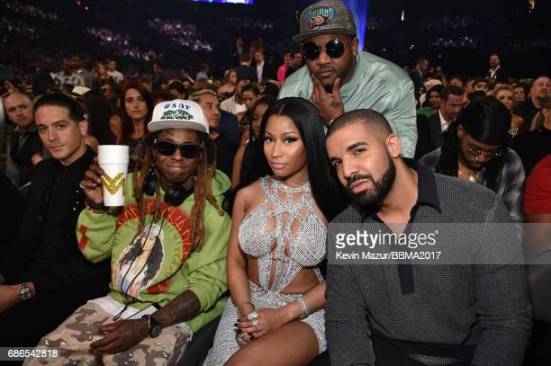 Recording artists Lil Wayne Nicki Minaj and Drake attend the 2017 Billboard Music Awards at TMobile Arena on May 21 2017 in Las Vegas Nevada