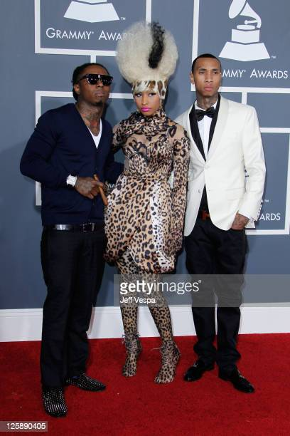 Recording artists Lil Wayne Nicki Minaj and Tyga arrive at The 53rd Annual GRAMMY Awards held at Staples Center on February 13 2011 in Los Angeles...