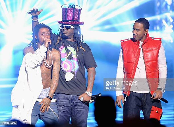 Recording artists Lil Wayne TBone and Ludacris perform during the 2008 BET HipHop Awards at The Boisfeuillet Jones Atlanta Civic Center on October 18...