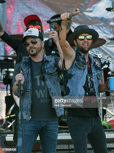 Recording Artists LOCASH Chris Lucas and Preston Brust during Kicker Country Stampede Day 2 on June 26 2015 at Tuttle Creek State Park in Manhattan...