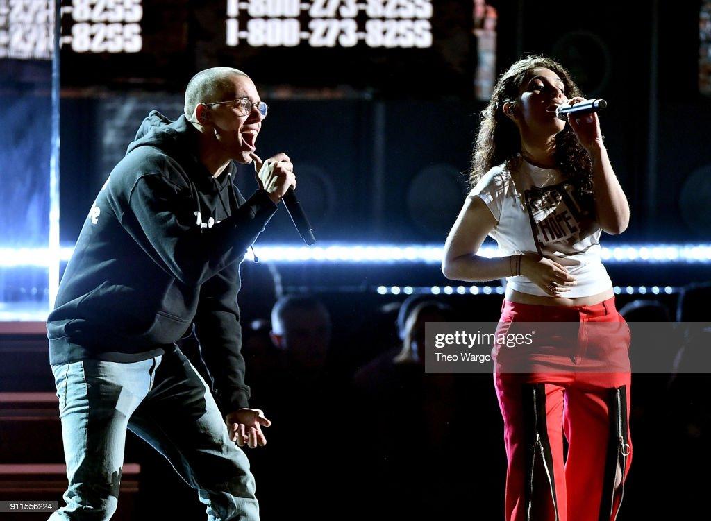 Recording artists Logic (L) and Alessia Cara perform onstage during the 60th Annual GRAMMY Awards at Madison Square Garden on January 28, 2018 in New York City.