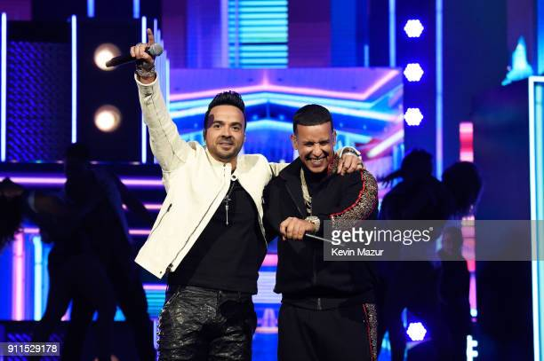 Recording artists Luis Fonsi and Daddy Yankee perform onstage during the 60th Annual GRAMMY Awards at Madison Square Garden on January 28 2018 in New...