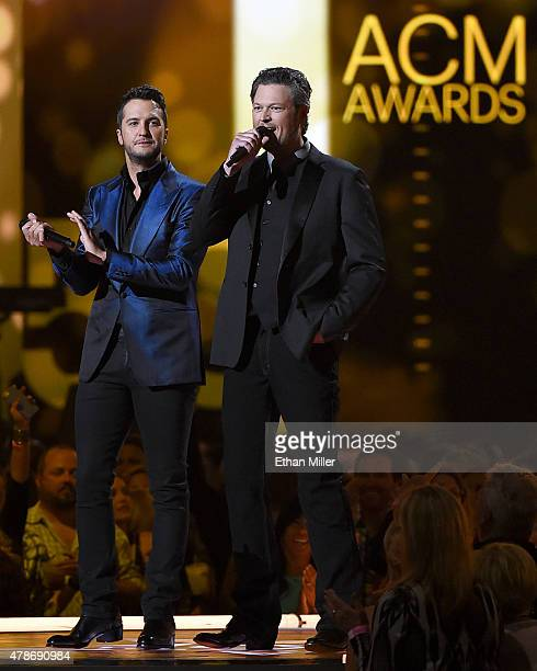 Recording artists Luke Bryan and Blake Shelton host the 50th Academy of Country Music Awards at ATT Stadium on April 19 2015 in Arlington Texas