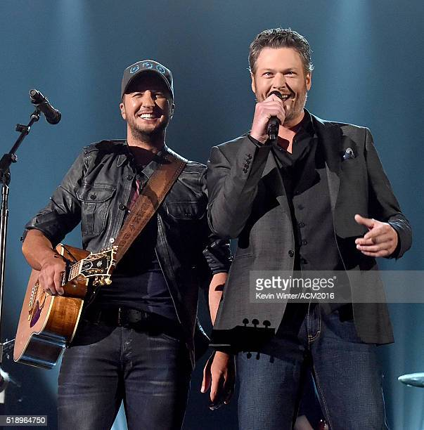 Recording artists Luke Bryan and Blake Shelton perform onstage during the 51st Academy of Country Music Awards at MGM Grand Garden Arena on April 3,...