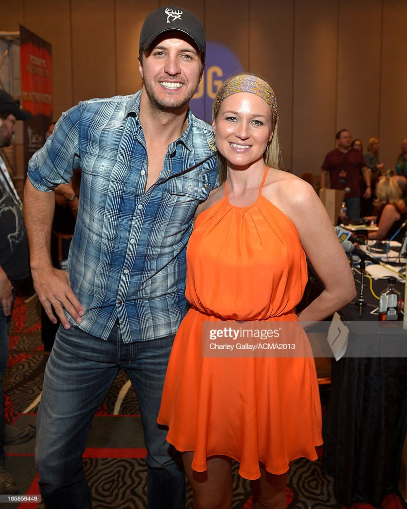 Recording artists Luke Bryan (L) and Jewel attend the Dial Global Radio Remotes during the 48th Annual Academy of Country Music Awards at MGM Grand Garden Arena on April 6, 2013 in Las Vegas, Nevada.