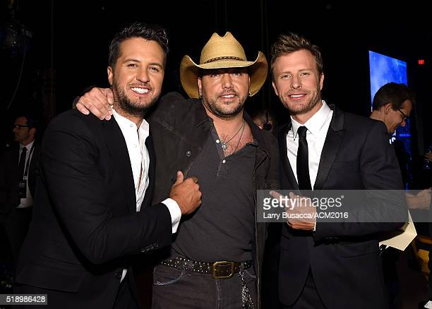Recording artists Luke Bryan Jason Aldean and Dierks Bentley pose backstage at the 51st Academy of Country Music Awards at MGM Grand Garden Arena on...