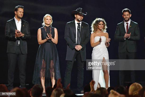 Recording artists Luke Bryan Miranda Lambert Jason Aldean Maren Morris and Thomas Rhett speak onstage during the 53rd Academy of Country Music Awards...
