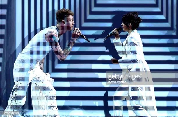 Recording artists Machine Gun Kelly and Camila Cabello perform onstage at Nickelodeon's 2017 Kids' Choice Awards at USC Galen Center on March 11 2017...