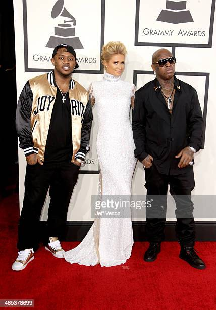 Recording artists Mack Maine Paris Hilton and Birdman attend the 56th GRAMMY Awards at Staples Center on January 26 2014 in Los Angeles California