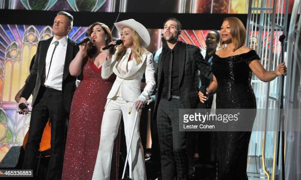 Recording artists Macklemore Mary Lambert Madonna Ryan Lewis and actress/singer Queen Latifah perform onstage during the 56th GRAMMY Awards at...