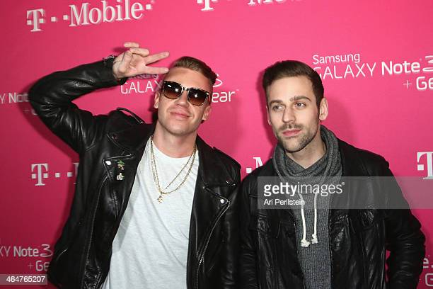 Recording artists Macklemore & Ryan Lewis attend Macklemore & Ryan Lewis presented by T-Mobile at Belasco Theatre on January 23, 2014 in Los Angeles,...