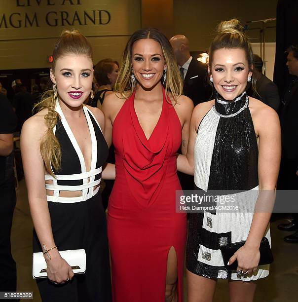 Recording artists Maddie Marlow of Maddie Tae Jana Kramer and Tae Dye of Maddie Tae attend the 51st Academy of Country Music Awards at MGM Grand...