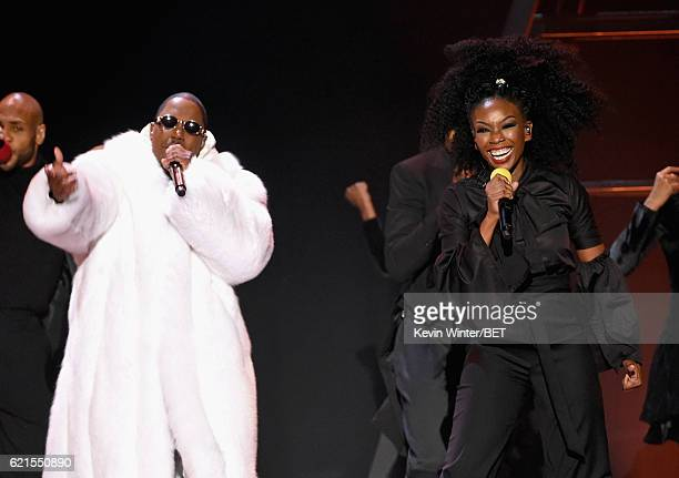 Recording artists Ma$e and Brandy perform onstage during the 2016 Soul Train Music Awards at the Orleans Arena on November 6 2016 in Las Vegas Nevada