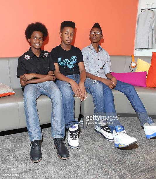 Recording artists Malcolm Brickhouse Jarad Dawkins Alec Atkins of Unlocking the Truth visit 106 Park at BET studio on July 22 2014 in New York City