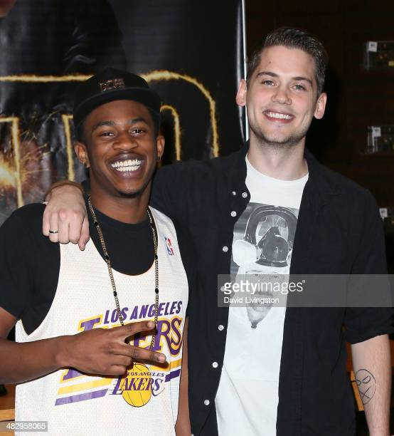 Recording artists Malcolm David Kelley and Tony Oller of MKTO sign copies of their debut album 'MKTO' at Barnes Noble bookstore at The Grove on April...