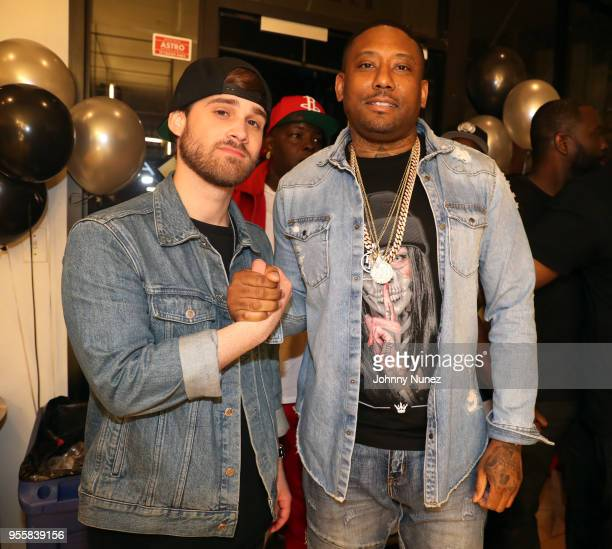 Recording artists Marco Foster and Maino attend the Maino x Fila KOB'S Viewing Party at Alumni of NY on May 7 2018 in the Brooklyn borough of New...