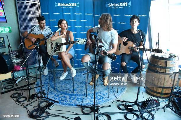 Recording Artists Maren Morris and Ryan Hurd perform in SiriusXM The Highway's Nook after Maren announced a private concert for SiriusXM at the...
