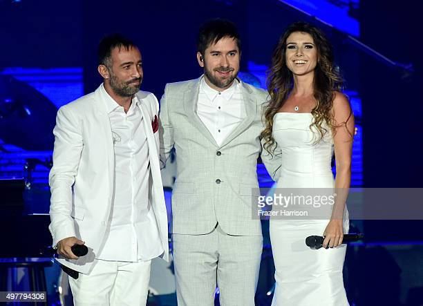 Recording artists Mario Domm and Pablo Hurtado of Camila and Paula Fernandes perform onstage during the 2015 Latin GRAMMY Person of the Year honoring...
