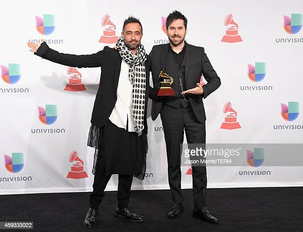 Recording artists Mario Domm and Pablo Hurtado of music group Camila winner of the Best Contemporary Pop Vocal Album attend the 15th Annual Latin...