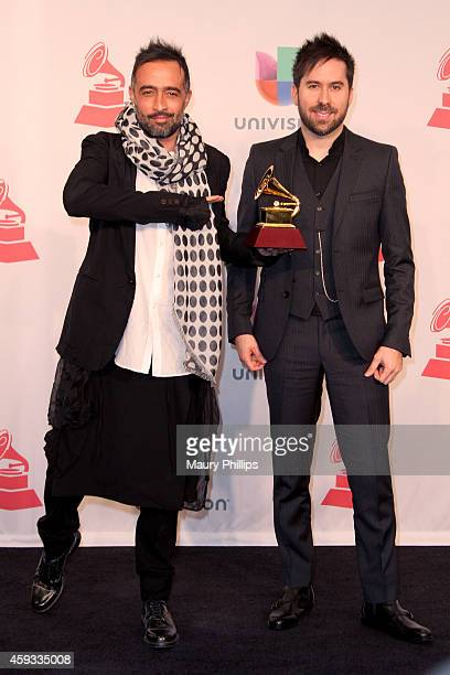 Recording artists Mario Domm and Pablo Hurtado of music group Camila winner of the Best Contemporary Pop Vocal Album pose in the press room during...
