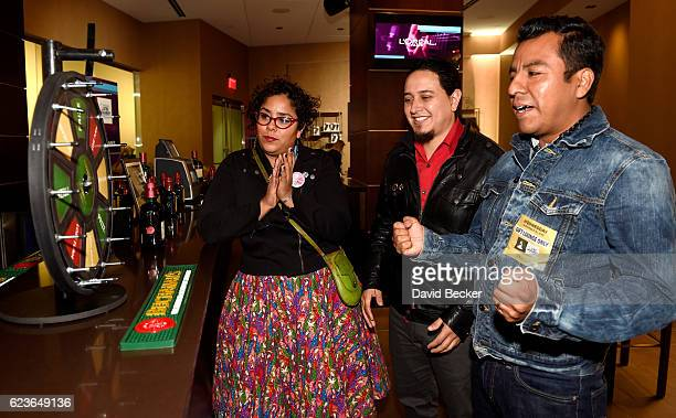 Recording artists Marisol Hernandez Alex Bendana and Jose Carlos of La Santa Cecilia attend the gift lounge during the 17th annual Latin Grammy...