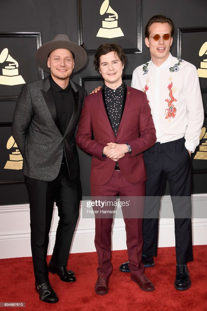 Recording artists Mark Falgren, Lukas Forchhammer and Magnus Larsson of music group Lukas Graham attend The 59th GRAMMY Awards at STAPLES Center on February 12, 2017 in Los Angeles, California.