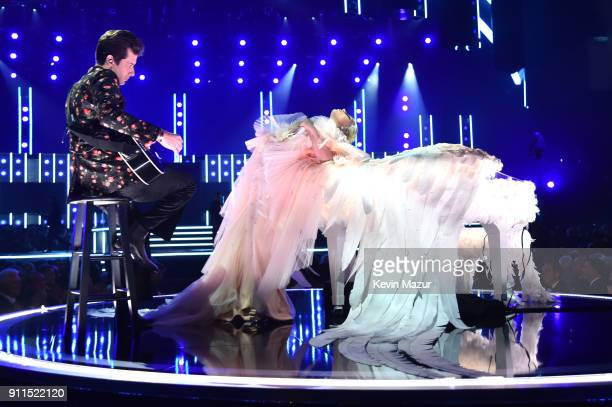 Recording artists Mark Ronson and Lady Gaga perform onstage during the 60th Annual GRAMMY Awards at Madison Square Garden on January 28, 2018 in New...