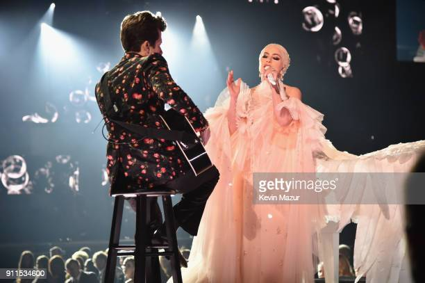 Recording artists Mark Ronson and Lady Gaga perform onstage during the 60th Annual GRAMMY Awards at Madison Square Garden on January 28 2018 in New...