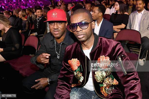 Recording artists Markell Riley and Aqil Davidson of WreckxnEffect seen in the audience during the 2016 Soul Train Music Awards at the Orleans Arena...