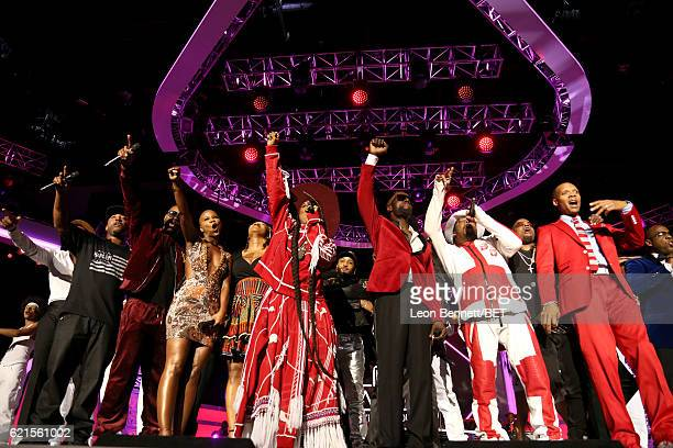 Recording artists Markell Riley and Aqil Davidson of WreckxnEffect recording artists V Bozeman IndiaArie Erykah Badu Damion Hall and Aaron Hall of...