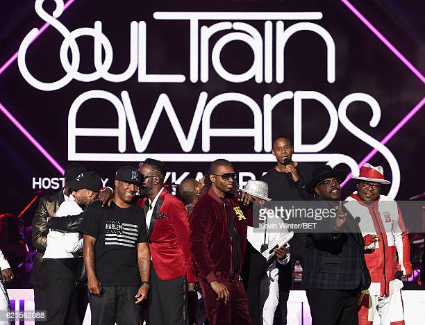 Recording artists Markell Riley of WreckxnEffect Aaron Hall of Guy Aqil Davidson of WreckxnEffect Teddy Riley actor/comedian Cedric the Entertainer...