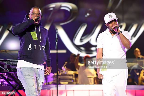 Recording artists Markell Riley of WreckxnEffect and Teddy Riley perform during rehearsals for the 2016 Soul Train Music Awards on November 5 2016 in...