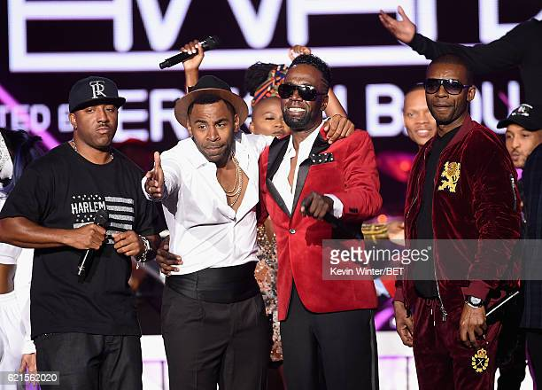 Recording artists Markell Riley of WreckxnEffect MAJOR Aaron Hall and Aqil Davidson WreckxnEffect onstage during the 2016 Soul Train Music Awards on...