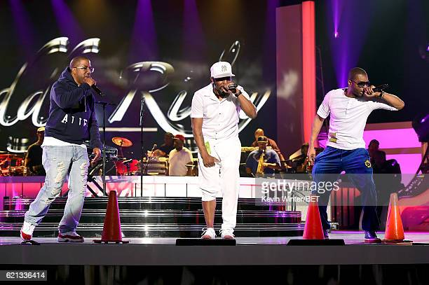 Recording artists Markell Riley of WreckxnEffect Teddy Riley and Aqil Davidson of WreckxnEffect perform during rehearsals for the 2016 Soul Train...