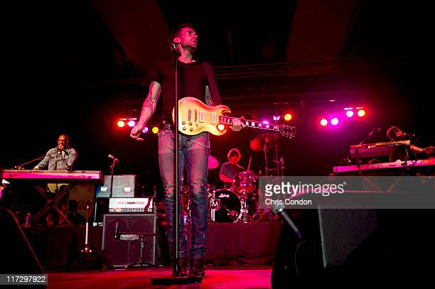Recording artists Maroon 5 perform for golf fans after the first round of the Dick's Sporting Goods Open at EnJoie Golf Course on June 24 2011 in...
